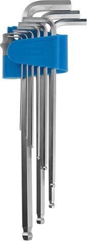 Набор ключей имбусовых ЗУБР длинные с шариком,Cr-Mo,сатинир покрытие,эргоном держатель,HEX 1,5 - 10 мм,9шт, фото 2