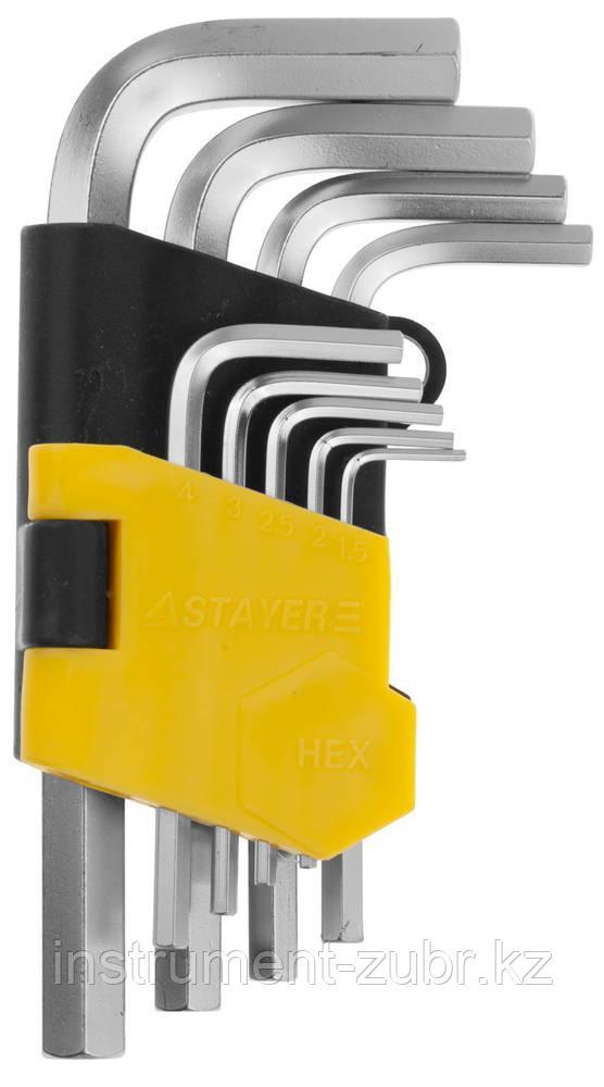Набор STAYER Ключи имбусовые короткие, Cr-V, сатинированное покрытие, пластик. держатель, HEX 1,5-10мм, 9 пред