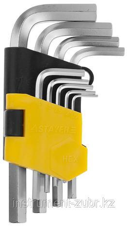 Набор STAYER Ключи имбусовые короткие, Cr-V, сатинированное покрытие, пластик. держатель, HEX 1,5-10мм, 9 пред, фото 2