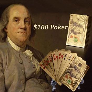 Покерные карты с золотым напылением Golden Premium dollar 54 Карты игральные сувенирные (цветной доллар) - фото 6