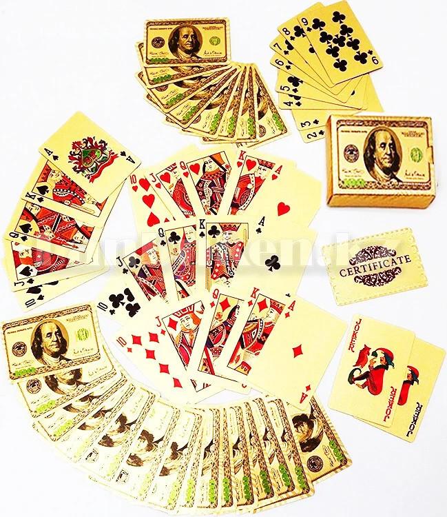 Покерные карты с золотым напылением Golden Premium dollar 54 Карты игральные сувенирные (цветной доллар) - фото 4