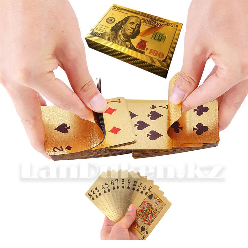 Покерные карты с золотым напылением Golden Premium dollar 54 Карты игральные сувенирные (цветной доллар) - фото 1
