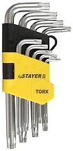 Набор STAYER Ключи имбусовые короткие, Cr-V, сатинированное покрытие, Т10-Т50мм, 9 предметов