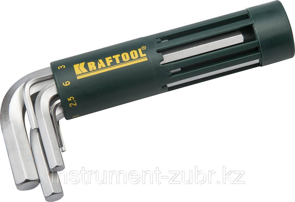 Набор KRAFTOOL: Ключи имбусовые короткие, Cr-Mo сталь, держатель-рукоятка, HEX 2-10мм, 8 пред