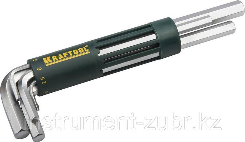 Набор KRAFTOOL: Ключи имбусовые длинные, Cr-Mo сталь, держатель-рукоятка, HEX 2-10мм, 8 пред, фото 2