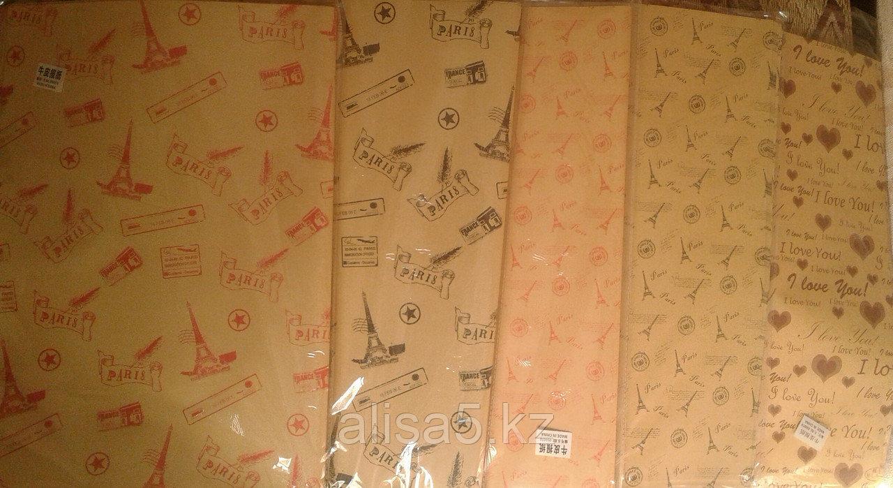 Газетная бумага с рисунками коричневая