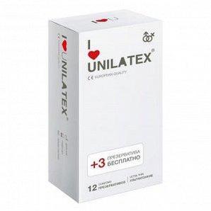 """Ультратонкие презервативы """"UNILATEX ULTRA THIN"""", в упаковке 12 штук + 3 в подарок"""