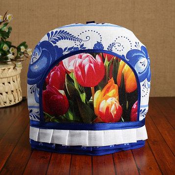 "Грелка-колпак на чайник ""Тюльпаны"", гжель, 20,5х25 см"