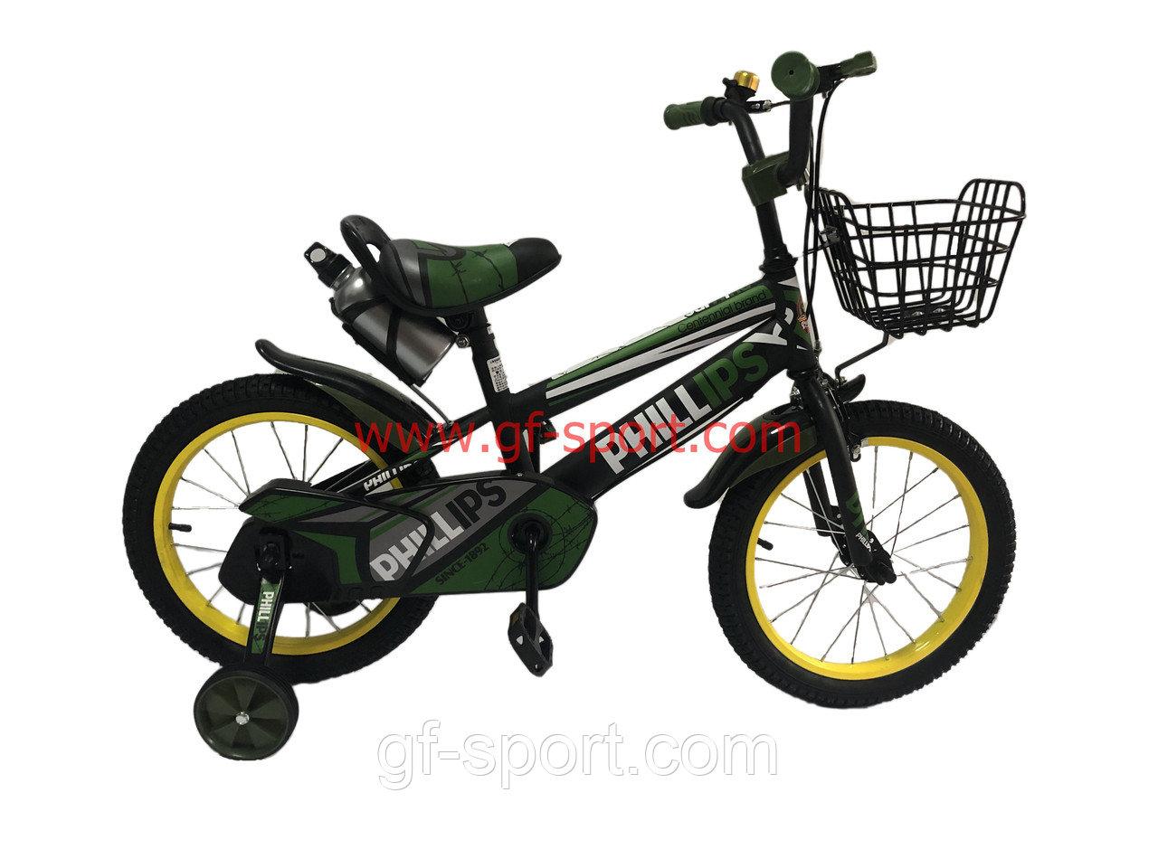 Велосипед Phillips зеленый оригинал детский с холостым ходом 16 размер