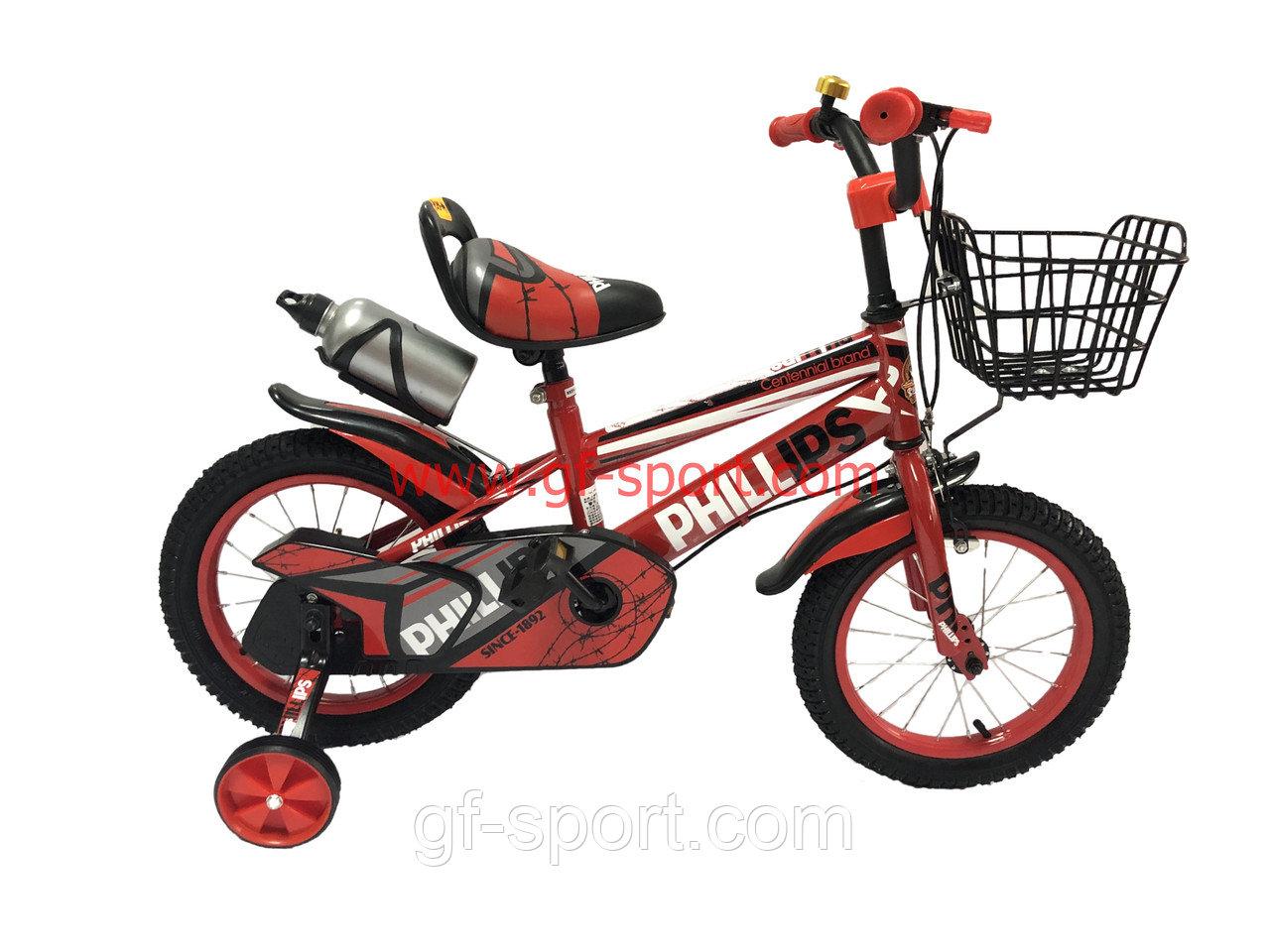Велосипед Phillips красный оригинал детский с холостым ходом 14 размер