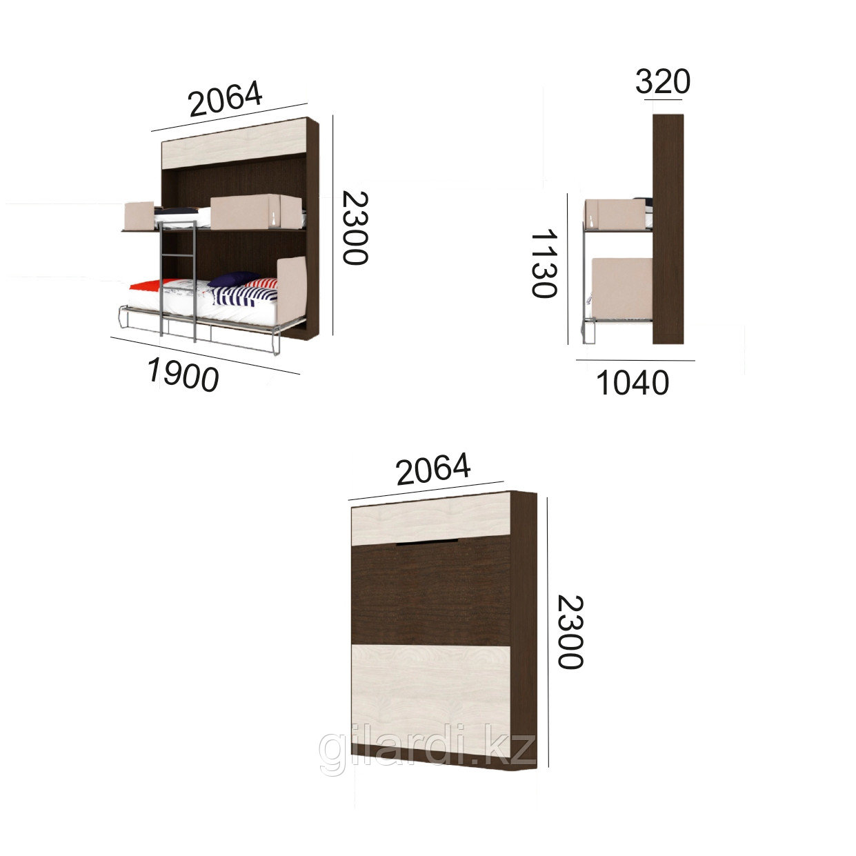 Шкаф-двухъярусная кровать трансформер «Twin Flip» (ШК2А) - фото 3