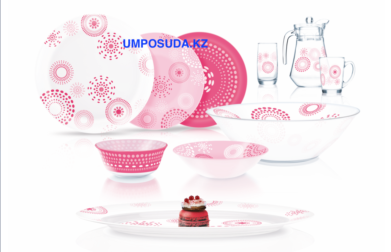 Столовый сервиз Luminarc Simply Pink Flakes 46 предметов на 6 персон