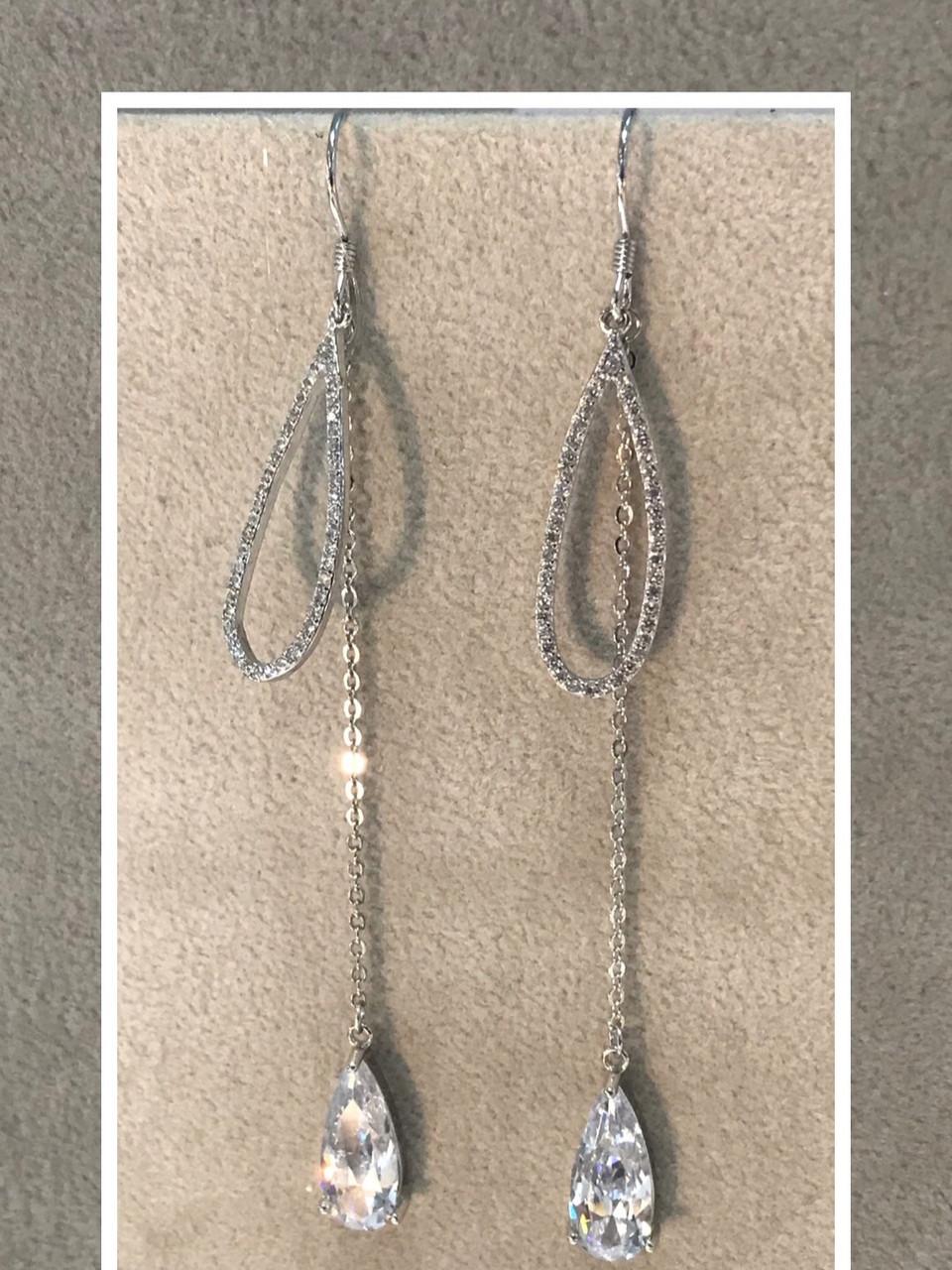 Серьги 💧💧💧с цирконом / серебро