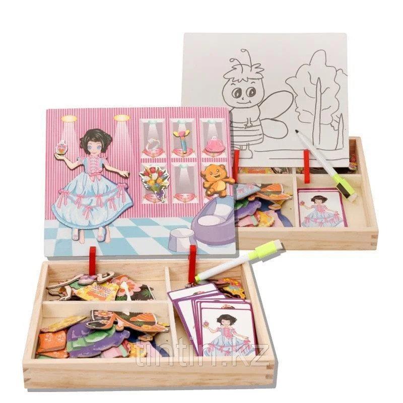 Деревянная доска 2 в 1: Магнитная игра-одевалка и маркерная доска