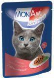МонАми 85гр С телятиной Нежные кусочки в соусе консервы для взрослых кошек, фото 1