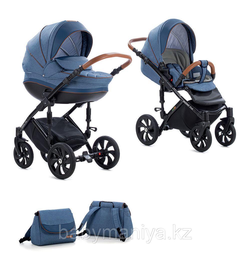 Детская коляска Tutis Mimi Style 2 в 1 Деним + кожа синяя