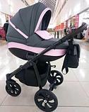 Коляска детская 2 в 1 Tutis Nanni короб+прогулка Серый+Кожа Пудра/Черная рама/Гель.колеса, фото 7