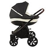 Коляска детская 2 в 1 Tutis Nanni короб+прогулка Серый+Кожа Тем.Серый/Черная рама/Гелевые колеса, фото 2
