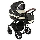 Коляска детская 2 в 1 Tutis Nanni короб+прогулка Серый+Кожа Тем.Серый/Черная рама/Гелевые колеса, фото 3