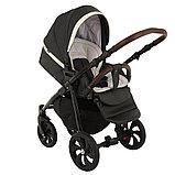 Коляска детская 2 в 1 Tutis Nanni короб+прогулка Серый+Кожа Тем.Серый/Черная рама/Гелевые колеса, фото 5