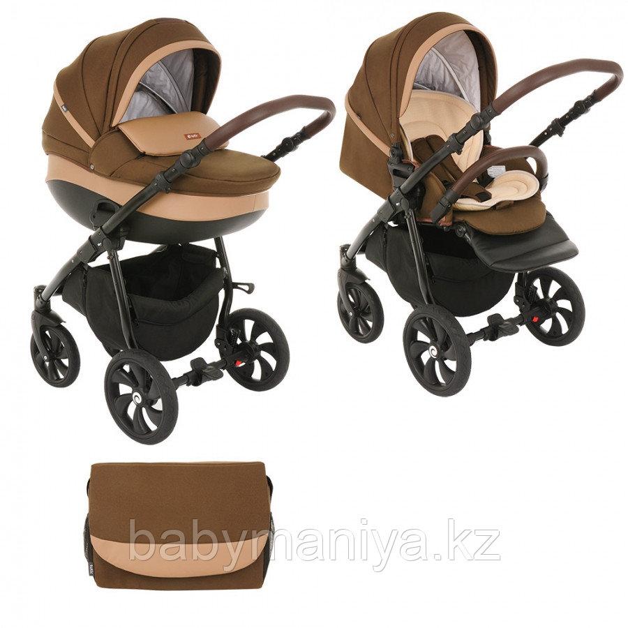 Коляска детская 2 в 1 Tutis Nanni короб+прогулка Тёмно-коричневый+Кожа Капучино/Чёрная рама/Гелевые колес