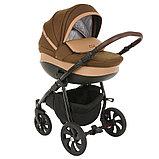 Коляска детская 2 в 1 Tutis Nanni короб+прогулка Тёмно-коричневый+Кожа Капучино/Чёрная рама/Гелевые колес, фото 2