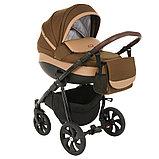 Коляска детская 2 в 1 Tutis Nanni короб+прогулка Тёмно-коричневый+Кожа Капучино/Чёрная рама/Гелевые колес, фото 3