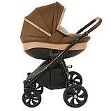 Коляска детская 2 в 1 Tutis Nanni короб+прогулка Тёмно-коричневый+Кожа Капучино/Чёрная рама/Гелевые колес, фото 4