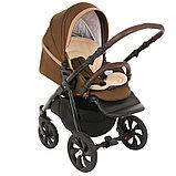 Коляска детская 2 в 1 Tutis Nanni короб+прогулка Тёмно-коричневый+Кожа Капучино/Чёрная рама/Гелевые колес, фото 5