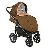Коляска детская 2 в 1 Tutis Nanni короб+прогулка Тёмно-коричневый+Кожа Капучино/Чёрная рама/Гелевые колес, фото 6