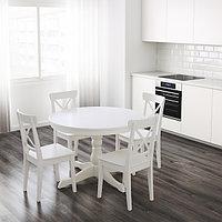 Стол и 4 стула ИНГАТОРП / ИНГОЛЬФ белый 110/155 см ИКЕА, IKEA, фото 1