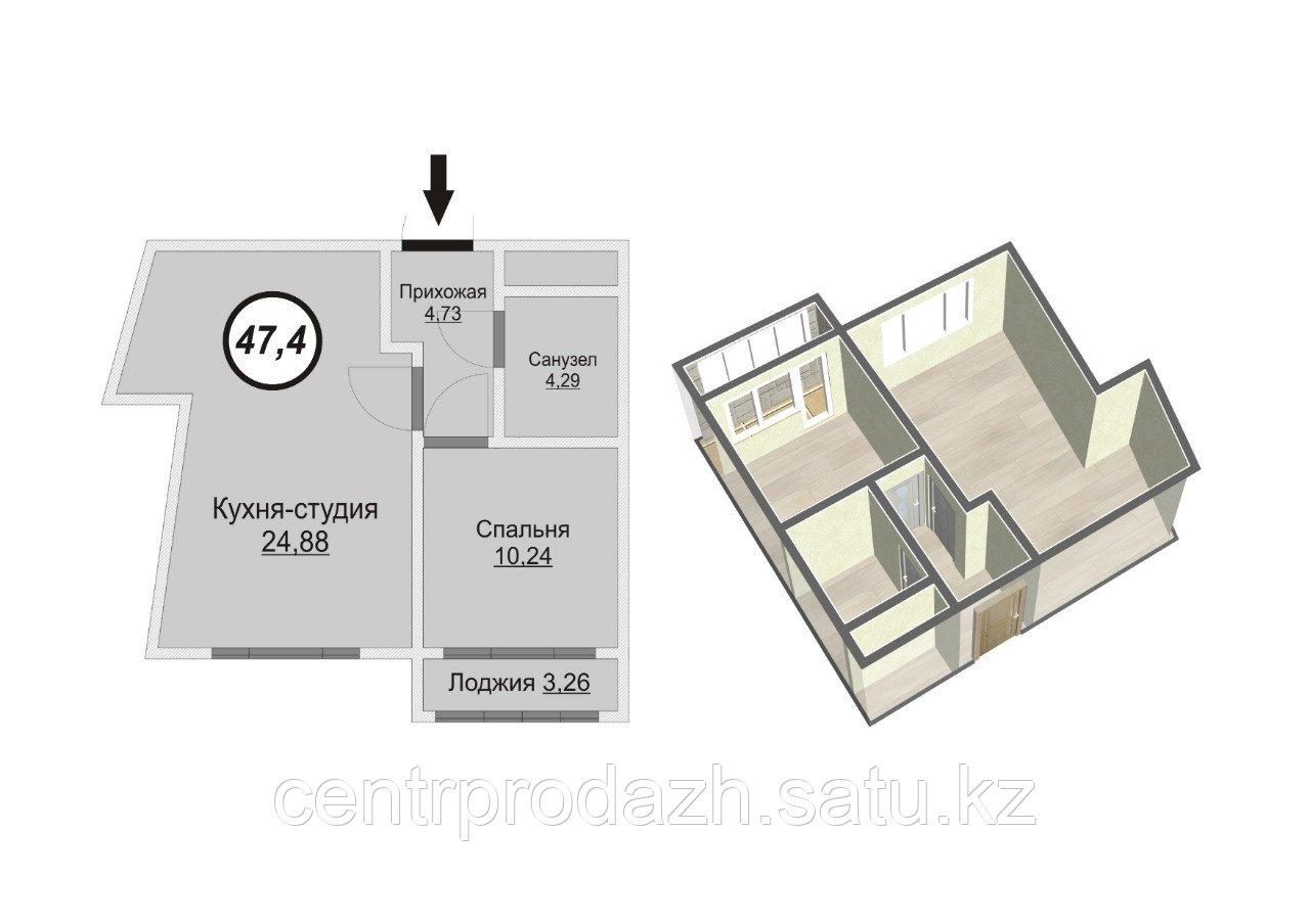 2 комнатная квартира в ЖК Техникум 2 47.4 м²