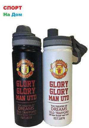 Клубная спортивная бутылка для воды Манчестер Юнайтед (цвет черный,белый), фото 2