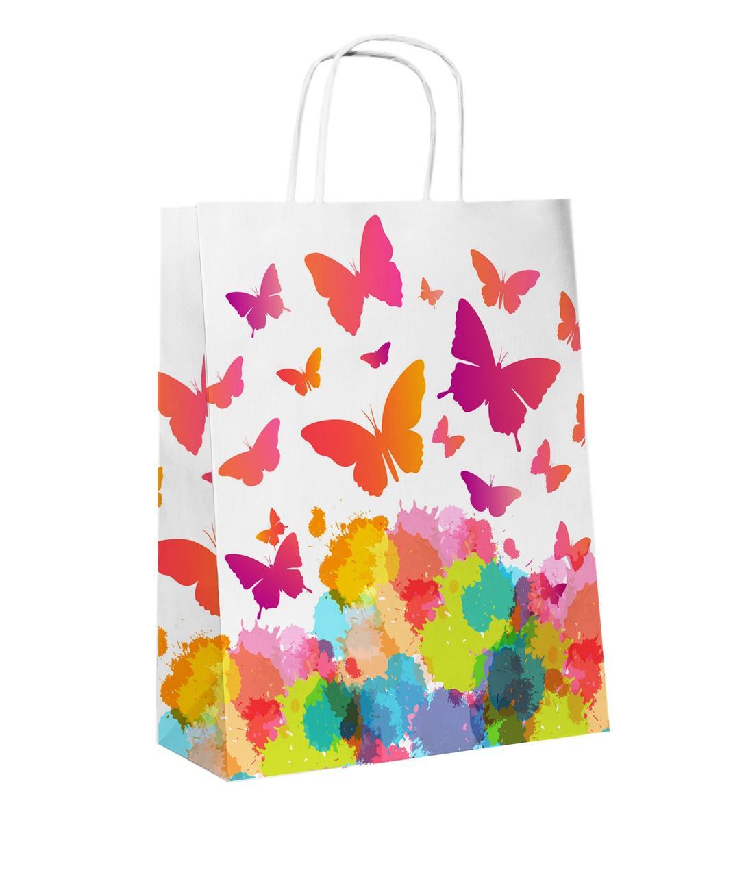 """Пакет-сумка (250+110)х320мм, 90г/м2,крафт белый с кручеными ручками """"Бабочки"""", 25 шт"""