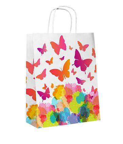 """Пакет-сумка (250+110)х320мм, 90г/м2,крафт белый с кручеными ручками """"Бабочки"""", 25 шт, фото 2"""