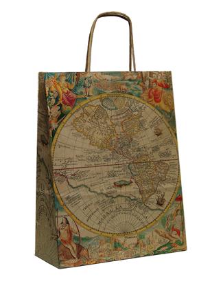 """Пакет-сумка (250+110)х320мм, 90г/м2,крафт кор. с кручеными ручками """"Карта"""", 25 шт, фото 2"""