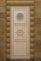 """Дверь """"Штурвал с иллюминатором"""" 184х74, коробка липа, Банный Эксперт"""