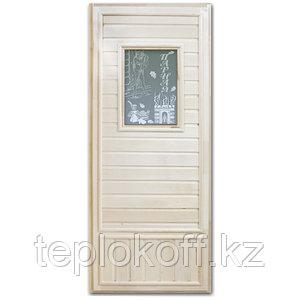 """Дверь """"Эконом со стеклом """"Девушка в баньке"""" (липа) 185х75, коробка липа. Банный Эксперт"""