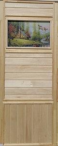 """Дверь """"Эконом со стеклом """"Летят Утки"""" (липа) 185х75, коробка липа. Банный Эксперт"""