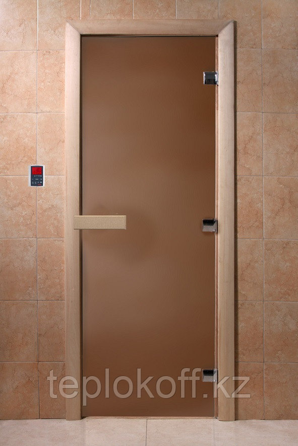 """Дверь """"Банная ночь"""" (бронза матовое) 180х70, 8 мм, 3 петли, коробка хвоя, Банный Эксперт"""