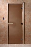 Дверь Бронза матовое 1900*700 мм, 8 мм, 3 петли, коробка ольха