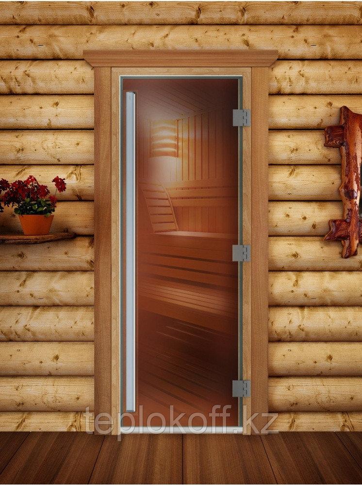 Дверь Престиж (бронза), 190х70, 8 мм, 3 петли, коробка ольха. Банный Эксперт