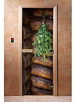 Дверь с фотопечатью, арт.А007, 190х70, 8 мм, 3 петли, коробка ольха. Банный Эксперт