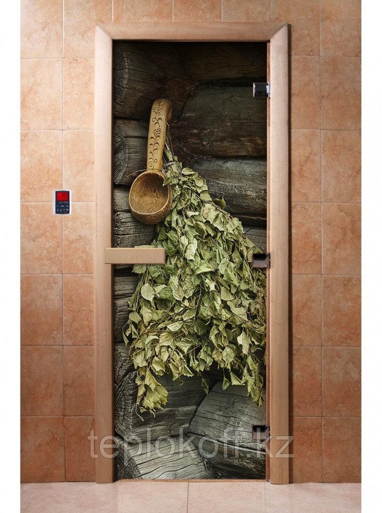 Дверь с фотопечатью, арт.А003, 190х70, 8 мм, 3 петли, коробка ольха. Банный Эксперт