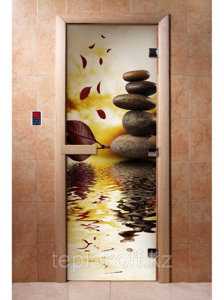 Дверь с фотопечатью, арт.А056, 190х70, 8 мм, 3 петли, коробка ольха. Банный Эксперт