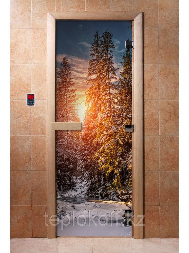 Дверь с фотопечатью, арт.А093, 190х70, 8 мм, 3 петли, коробка ольха. Банный Эксперт