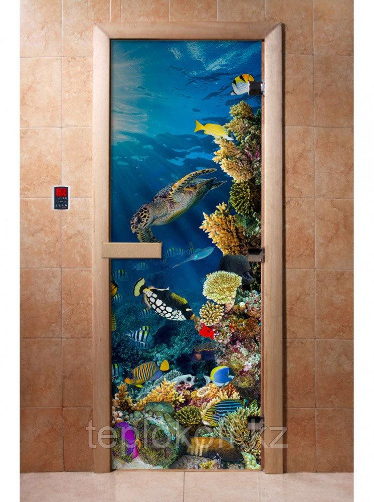 Дверь с фотопечатью, арт.А087, 190х70, 8 мм, 3 петли, коробка ольха. Банный Эксперт