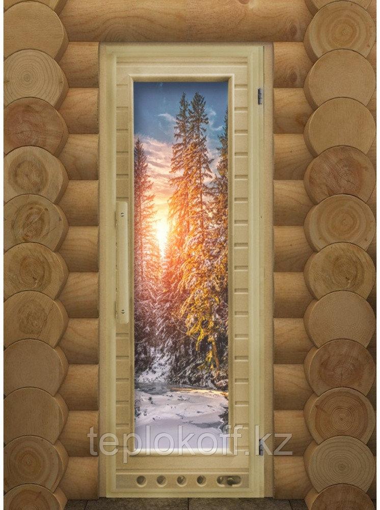 """Дверь Элит """"Зима"""" с вентиляцией,182х72, 8 мм, 2 петли, коробка ольха. Банный Эксперт"""