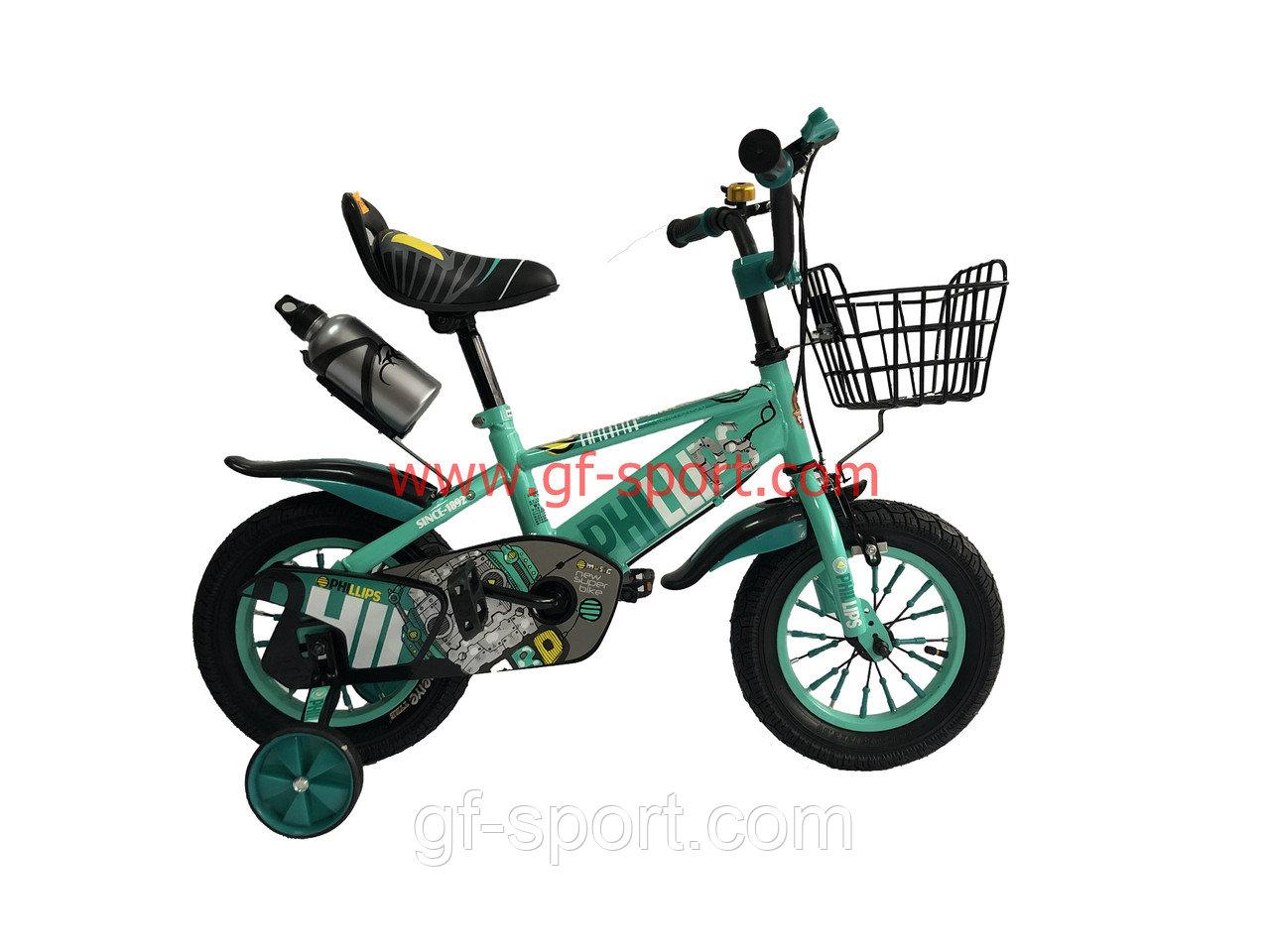 Велосипед Phillips бирюзовый оригинал детский с холостым ходом 12 размер
