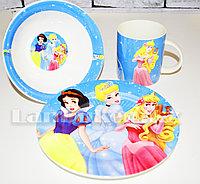 Набор детской посуды Dinner Set 3 Принцессы Диснея чашка тарелка кружка (голубой)